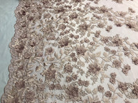 Embroidered Lace Dk Rose Mesh Fabric 3D Flower-Floral Wedding Dress By The Yard
