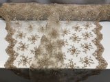 Jerusalem's Best Skin Mesh / Embroidery Beaded Lace & Sequins Fabric - Sold By The Yard