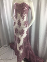 Embroidered Fabric Mesh Lace With Sequins Beaded Wedding Dress Lilac By The Yard