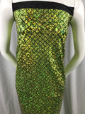 Mermaid Fabric Fish Tail Scale Sparkle Hologram Spandex Lime By The Yard