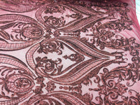 2 way stretch fabric Embroidered Mesh sequins bridal lace fashion Burgundy- by the yard