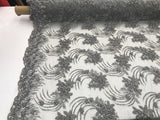 Silver Design Embroider Mesh With Beaded And Sequins Lace Fabric - By The Yard