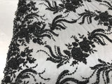 Jerusalem's Luxurious Black Mesh / Embroidery Beaded Lace & Sequins Fabric - Sold By The Yard