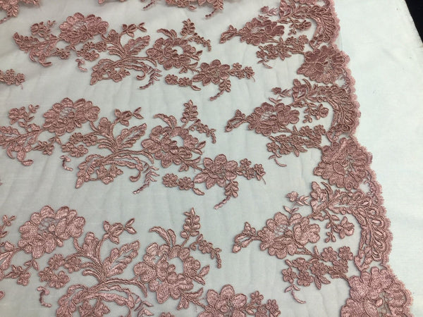 Embroidered Lace fabric Dusty Rose-Flower Corded Mesh Bridal-Wedding By The Yard