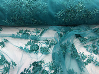 Elegant Jade Green Hand Beaded Mesh Lace.Wedding/Bridal Fabric.36x50inches