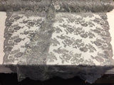 Embroidered Lace fabric Silver - Flower Corded Mesh Bridal-Wedding By The Yard