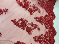 Elegant Red Hand Beaded Mesh Lace.Wedding/Bridal Fabric.36x50inches.