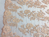 Embroidered Lace fabric Peach - Flower Corded Mesh Bridal-Wedding By The Yard