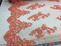 Elegant Coral Hand Beaded Mesh Lace.Wedding/Bridal Fabric.36x50inches.