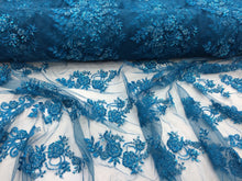Load image into Gallery viewer, Elegant Turquoise Hand Beaded Mesh Lace.Wedding/Bridal Beaded Fabric.36x50inches
