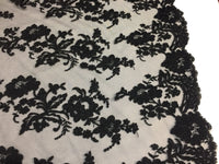 Embroidered Lace fabric Black - Flower Corded Mesh Bridal-Wedding By The Yard