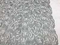 SILVER FLORAL EMBROIDERY GUIPURE LACE FABRIC FRENCH BRIDAL VEIL BY THE YARD