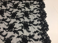 Beaded Lace Fabric - Embroidered Mesh With Beads Black Bridal Dress By The Yard