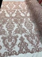 Blush French Corded Design Embroider With Sequins On A Mesh Lace Fabric-By Yard