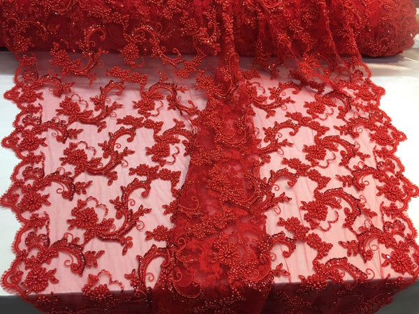 New Queens Design Beaded Mesh Lace Fabric Bridal Wedding Red. Sold By The Yard