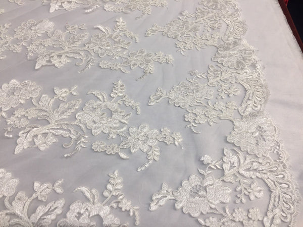Embroidered Lace fabric Ivory Flower Corded Mesh Bridal-Wedding By Yard