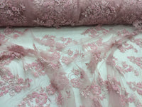 Elegant Pink Hand Beaded Mesh Lace. Wedding/Bridal Beaded Fabric.36x50inches..
