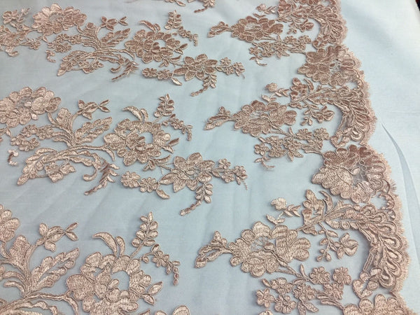 Embroidered Lace fabric Blush Pink-Flower Corded Mesh Bridal-Wedding By The Yard
