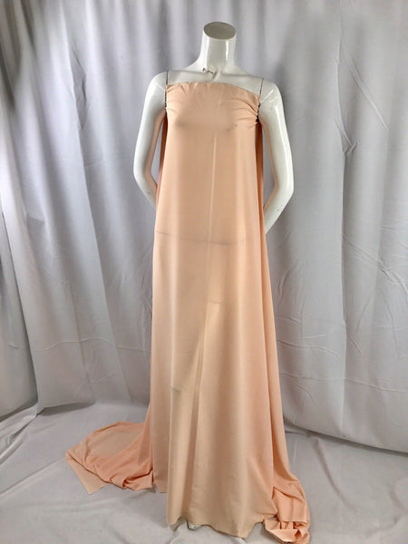 "PEACH 2 WAY STRETCH POLYESTER CHIFFON DRESS LINING-SHEER-58"" WIDE-SOLD BY YARD."