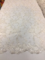 Beaded Lace Fabric - Embroidered Mesh With Beads White Bridal Dress By The Yard