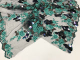Lace Flower Girl Dress Aqua Hologram Big Dot Sequins Mesh Decorations By Yard