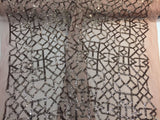 Skin Geometric Sequins Design Embroider On A 2 Way stretch Mesh-Sold By Yard.