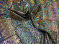 Snake Design Tail Scale Sparkle Hologram Nylon Spandex Gold By The Yard