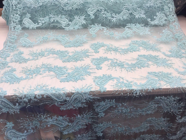 Beaded Aqua Mesh Lace Fabric Luxurious With Pearls By Yard