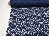 NAVY FLORAL EMBROIDERY GUIPURE LACE FABRIC FRENCH BRIDAL VEIL BY THE YARD