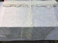 Ivory French Corded Design embroider With Sequins On A Mesh Lace Fabric-ByYard