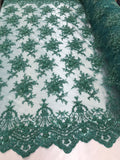 Jerusalem's Lace Fabric - Embroidered Beaded Mesh Floral Green Bridal Wedding By The Yard