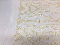 Lace Fabric - Flower Mesh Dress Ivory For Embroidery Bridal Veil By The yard