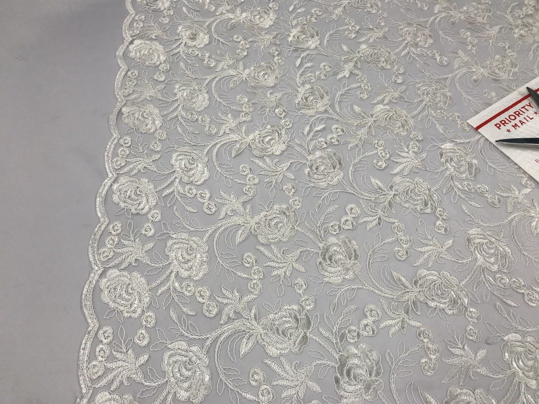Lace Fabric - Flower Mesh Top Bridal Veil Wedding Dress Of White By The Yard