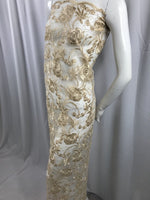 Lace Fabric - Flower Mesh Top Bridal Veil Wedding Dress Champagne By The Yard