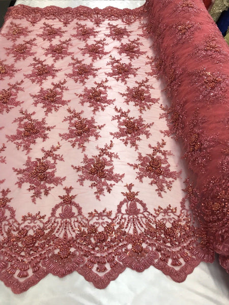 Lace Fabric Embroidered Beaded Mesh Floral Coral Bridal Wedding By The Yard