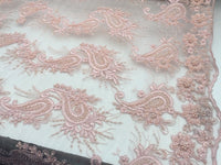 Beaded Dusty Rose Mesh Lace Fabric Luxurious Design By Yard