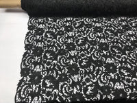 BLACK FLORAL EMBROIDERY GUIPURE LACE FABRIC FRENCH BRIDAL VEIL BY THE YARD