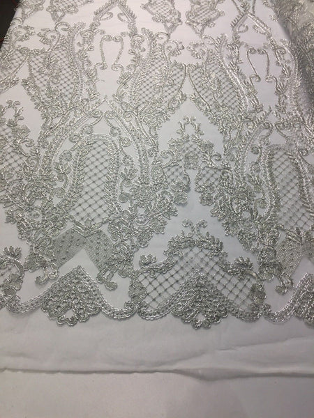 Lace Fabric - Flower Mesh Dress Silver For Embroidery Bridal Veil By The yard