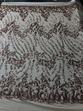 4 Way Stretch Sequin Fabric By Yard Rose Gold Embroidered Mesh Dress Top Fashion