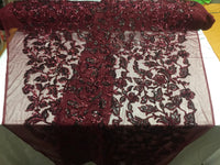 Sequins Fabric - Embroidered Mesh Lace Sequin Shiny Burgundy & Black By The Yard