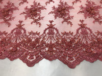 Jerusalem's Lace Fabric - Embroidered Beaded Mesh Floral Coral Bridal Wedding By The Yard