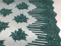 Jerusalem's Beaded Lace Fabric - Embroidered Mesh Floral/Flower Bridal Green By The Yard