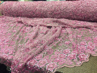 Super Heavy Beaded Mesh Lace Multi Color Flower Bridal Wedding Dusty Rose.1 Yard