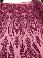 2 Way Stretch Fabric - Fuchsia Embroidered sequins lace Fashion - By The Yard