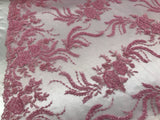 Jerusalem's Luxurious Candy Pink Mesh / Embroidery Beaded Lace & Sequins Fabric - Sold By The Yard