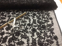 Lace Fabric - Flower Mesh Dress Sequins Shiny Black Fashion Decor By The Yard