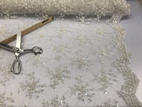 Jerusalem's Best Ivory Mesh / Embroidery Beaded Lace & Sequins Fabric - Sold By The Yard