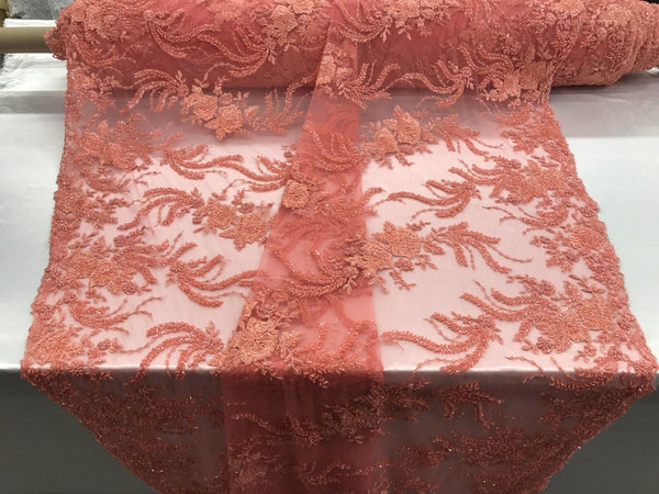 Jerusalem's Luxurious Tangerine Mesh / Embroidery Beaded Lace & Sequins Fabric - Sold By The Yard