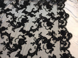 New Queens Design Beaded Mesh Lace Fabric Bridal Wedding Black. Sold By The Yard
