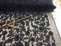 Lace Fabric - Flower Mesh Dress Sequins Shiny Navy & Black By The Yard